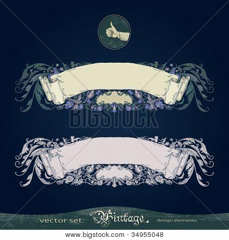 Antique, old, vintage, flourish, ornate, vector banner for decoration and design