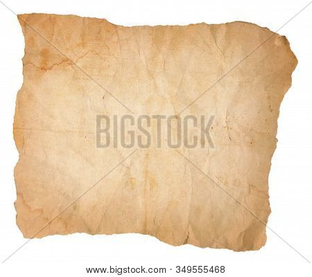 A Yellowing, Aging Sheet Of Paper With Water Stains That Has Been Creased And Wrinkled And Torn On A