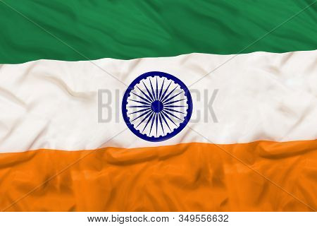 India Country Independent State National Flag Banner Close-up With Waving Fabric Texture