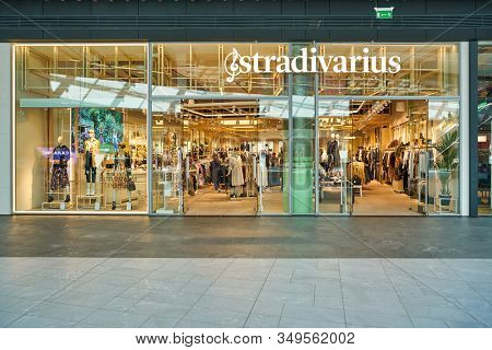 MOSCOW, RUSSIA - SEPTEMBER 14, 2019: entrance to Stradivarius store at Salaris shopping mall in Moscow. Stradivarius is an international women clothing fashion brand from Spain.