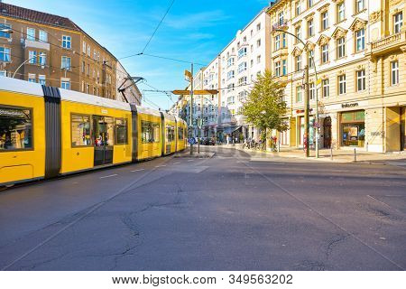 BERLIN, GERMANY - CIRCA SEPTEMBER, 2019: Bombardier Flexity Berlin seen in the daytime. It is a tram type constructed for the Berlin tramway network.