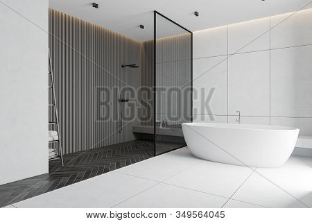 Corner Of Spacious Bathroom With White Tile And Grey Walls, Tiled And Black Wooden Floor, Comfortabl