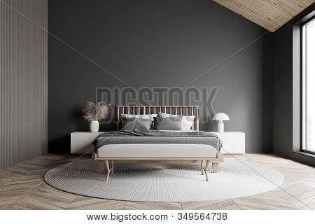 Gray Attic Master Bedroom Interior