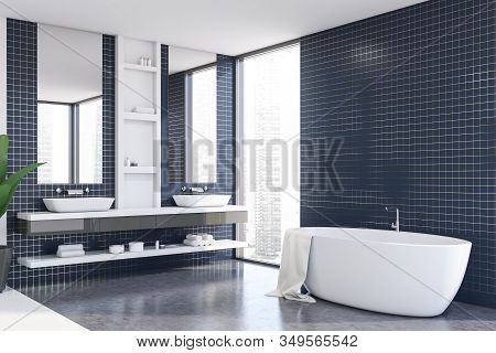 Blue Tile Bathroom Corner With Tub And Sink