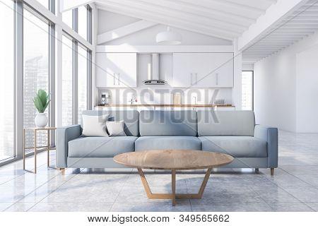 Attic White Living Room And Kitchen Interior