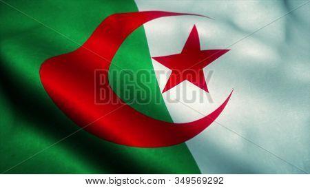 Algeria Flag Waving Animation. Flag Of Algeria Waving In The Wind. 3d Illustration.
