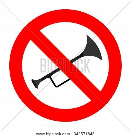 Prohibition Sign Playing Musical Instruments, Sign Prohibiting Noise