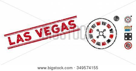 Mosaic Roulette Icon And Red Las Vegas Seal Stamp Between Double Parallel Lines. Flat Vector Roulett