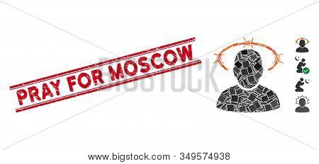 Mosaic Crown Of Thorns Pictogram And Red Pray For Moscow Seal Stamp Between Double Parallel Lines. F