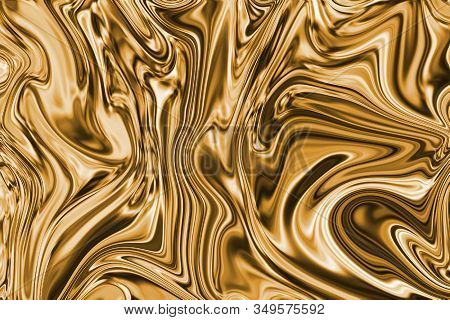 Texture Of Pure Liquid Gold, Background For Wallpaper, Decoration Or Design Works.