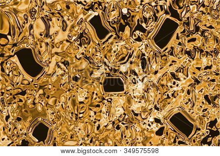 Texture Of Pure Gold With Tourmaline Inlays, Background For Wallpaper, Decoration Or Design Works.