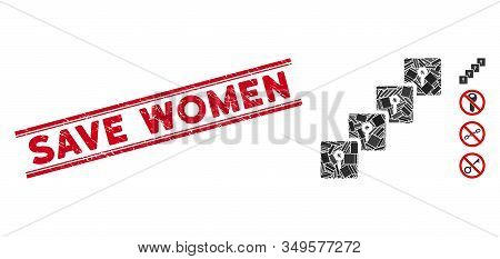 Mosaic Locker Blockchain Icon And Red Save Women Seal Between Double Parallel Lines. Flat Vector Loc