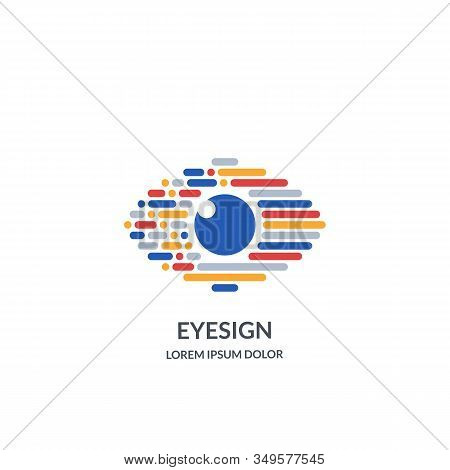 Eye Vision Logo Sign Or Emblem Design Template. Abstract Colorful Morse Code Human Eyes Vector Illus