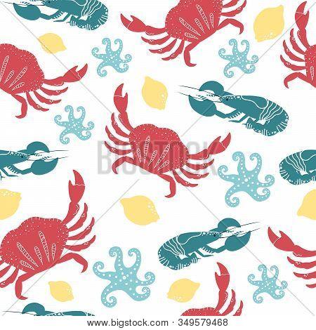 Set Of Colorful Hand Drawn Seafood Elements: Crawfish, Lobster, Crab, Shrimps, Lemon, Octopus, Crust