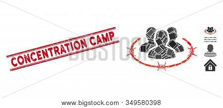 Mosaic Concentration Camp Icon And Red Concentration Camp Seal Stamp Between Double Parallel Lines.