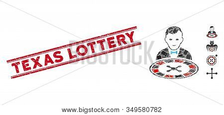 Mosaic Roulette Dealer Icon And Red Texas Lottery Seal Stamp Between Double Parallel Lines. Flat Vec