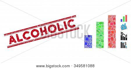 Mosaic Bar Chart Icon And Red Alcoholic Seal Stamp Between Double Parallel Lines. Flat Vector Bar Ch