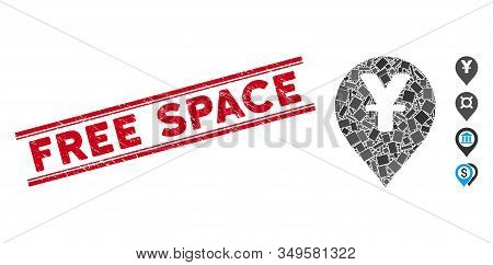 Mosaic Yen Map Marker Pictogram And Red Free Space Stamp Between Double Parallel Lines. Flat Vector
