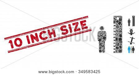 Mosaic Man Height Pictogram And Red 10 Inch Size Rubber Print Between Double Parallel Lines. Flat Ve