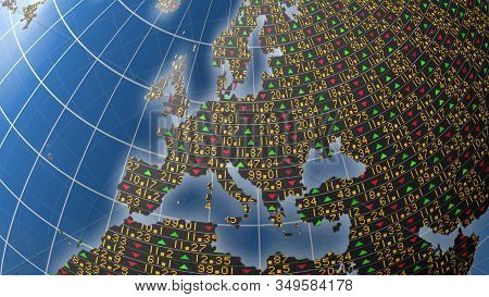 3d Europe Illustration Covered In Stock Market Tickers And Up And Down Trade Symbols For Business An