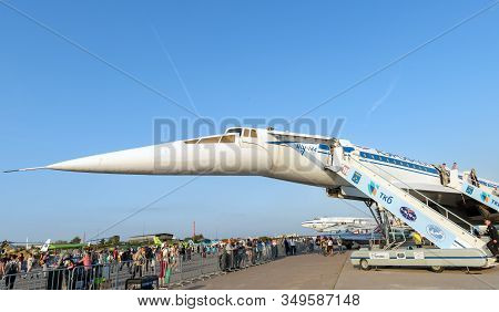 August 30, 2019 Zhukovsky, Russia.  Soviet Supersonic Passenger Aircraft Tupolev Tu-144 At The Inter