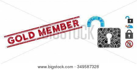 Mosaic Unlock Icon And Red Gold Member Seal Stamp Between Double Parallel Lines. Flat Vector Unlock