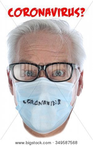 Coronavirus. Caucasian Mans Head wearing a Paper Face Mask to avoid the Chinese Coronavirus infection. Isolated on white. Room for text. Clipping Path. 2019 Novel Coronavirus (2019-nCoV) outbreak.
