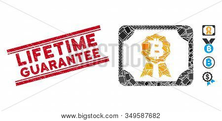 Mosaic Bitcoin Diploma Icon And Red Lifetime Guarantee Rubber Print Between Double Parallel Lines. F
