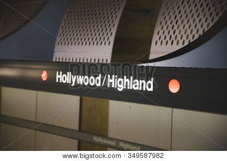 Los Angeles/usa-02.02.20 :  Hollywood Highland Los Angeles Metro Station Stop Califronia