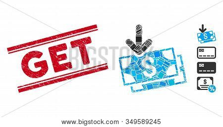 Mosaic Get Banknotes Pictogram And Red Get Watermark Between Double Parallel Lines. Flat Vector Get