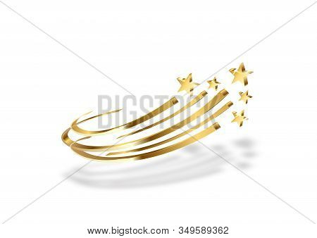 Illustration With Gold Stars On A White Background For Conceptual Design. Metallic Gold Background.