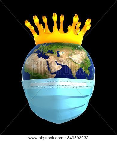 Planet Earth In Medical Mask With Coronavirus Crown. 3d Illustration.