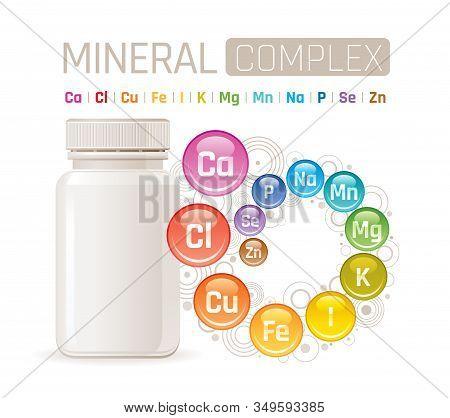 Multi Mineral Vitamin Complex Supplement. 3d Mockup With Empty Bottle Minerals. Calcium Iron Zinc Se
