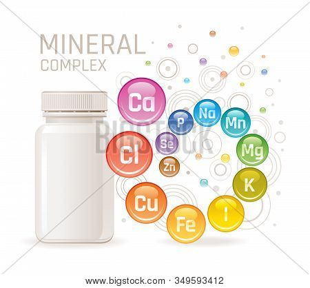Multi Mineral Vitamin Complex Supplement. 3d Mockup With Empty Bottle Minerals. Calcium Iron Zinc Se
