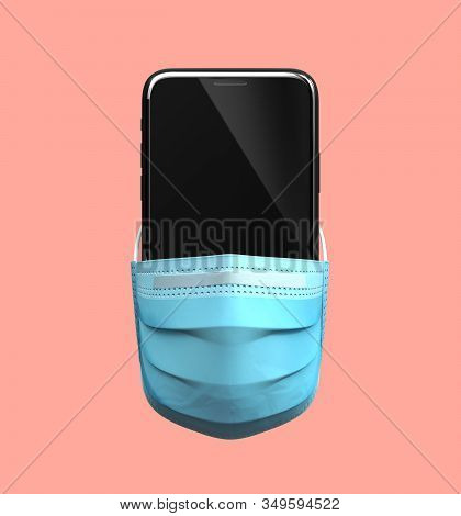 Chinese Smartphone In Medical Mask. 3d Illustration.