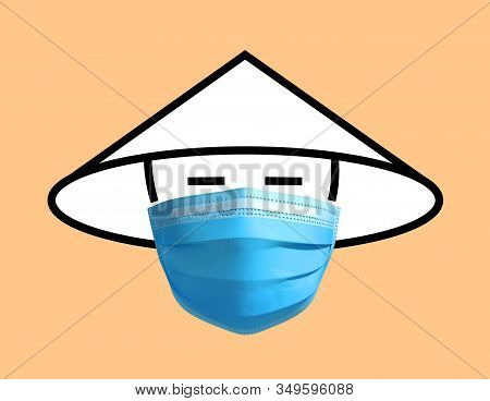 Symbolic Image Of Chinese Man In Medical Mask. 3d Illustration.