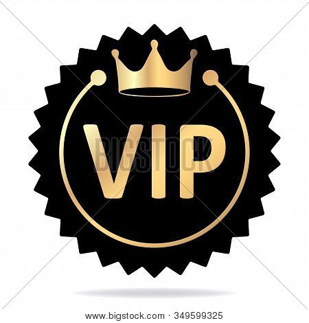 Round Vip Vector Emblem With Crown. Black Banner With Gold Decor. Vector Illustration For Your Desig