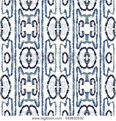 Blue Stripe Tribal Vector Seamless Pattern. Drawing Batik Aztec Print. Japanese Abstract Design. Blu