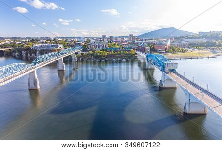 Chattanooga, Tn - October 8, 2019: Aerial View Of Chattanooga City Skyline Along The Tennessee River