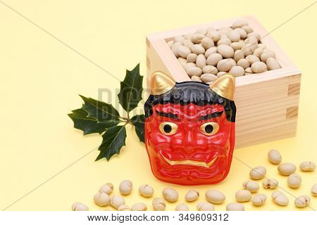 Japanese Traditional Setsubun Event, Soybeans And Masks Of Oni Demon Are Used On An Annual Event