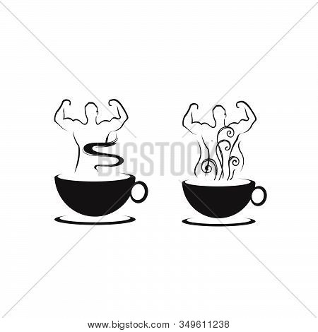 Silhoutte Of Healthy Male And Coffee Logo For Natural Man Vitality Nutriton Logo Design Vector