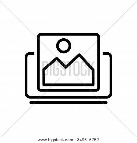 Black Line Icon For Picture Image Photo Photograph Gallery Frame Picture Album Placeholder Memory