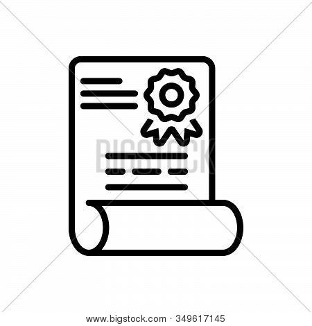 Black Line Icon For Diploma Patent Degree Certificate Folder Education Document Graduation Qualifica