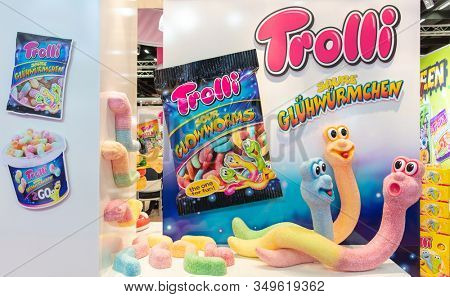 COLOGNE, February 2020: Trolli sour glowworms characters on display at ISM trade fair
