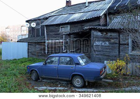 Ryazan, Russia - October 21, 2017:old Wooden House On Vvedenskaya Street In The City Of Ryazan