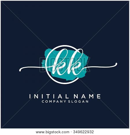 Kk Initial Handwriting Logo Design With Brush Circle. Logo For Fashion,photography, Wedding, Beauty,