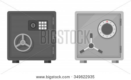 Flat Vector Illustration Of A Safe Icon Front View On White Background. Safe For Money With Combinat