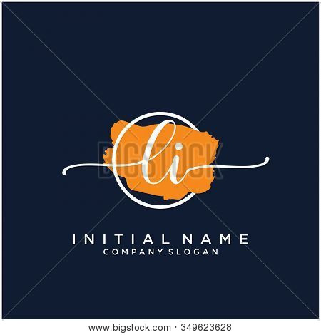 Li Initial Handwriting Logo Design With Brush Circle. Logo For Fashion,photography, Wedding, Beauty,