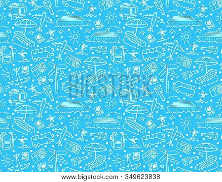 Travel Backdrop With Hand Drawn White Elements On Blue Background. Wanderlust Doodle Seamles Pattern