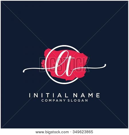 Lt Initial Handwriting Logo Design With Brush Circle. Logo For Fashion,photography, Wedding, Beauty,